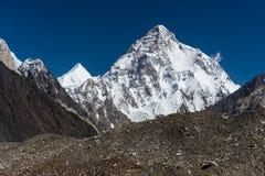 K2 halny szczyt, po drugie wysoki szczyt w świacie, K2 wędrówka, Ska Zdjęcia Royalty Free