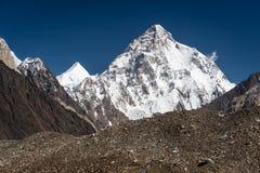 K2 halny szczyt, po drugie wysoki szczyt w świacie, Karakoram akademie królewskie Obraz Stock
