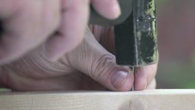4k. A hammer striking a falling nail. Macro. A narrow zone of sharpness.