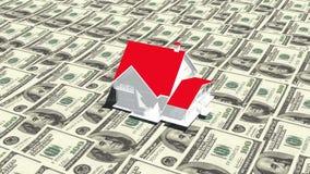 4k Haus auf dem Hintergrund mit 100 Dollarscheinen, Anlagengeschäft, Wirklichzustand vektor abbildung