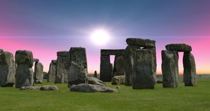 4K HDR Footage of a Red Sky Sunrise at Stonehenge in Wiltshire, England stock video footage