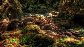 4k. HDR Time Lapse Moss-Covered Boulders.  Crimea, Ukraine Royalty Free Stock Photography