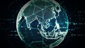 4K het digitale Blauw van Wereldgegevens royalty-vrije illustratie