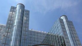 4K Het Europees Parlement de bouw in Brussel, Belgi? Europees Kwart stock videobeelden