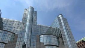 4K Het Europees Parlement de bouw in Brussel, Belgi? Europees Kwart stock footage