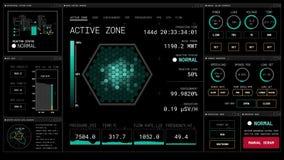 4k het geanimeerde futuristische grafische gebruikersinterface HUD van het kernreactordashboard royalty-vrije illustratie