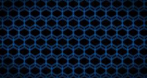 4k Hexagon Achtergrond Gegleden de Animatiezwarte en Blauw van het Kubuspatroon Royalty-vrije Stock Fotografie