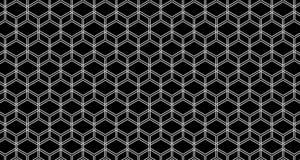 4k Hexagon Achtergrond Gegleden de Animatiezwarte en Blauw van het Kubuspatroon Royalty-vrije Stock Afbeeldingen