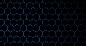 4k Hexagon de Animatiezwarte en Blauw van het Achtergrondcelpatroon Royalty-vrije Stock Foto
