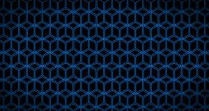 4k Hexagon de Animatiezwarte en Blauw van het Achtergrondkubuspatroon Stock Afbeeldingen