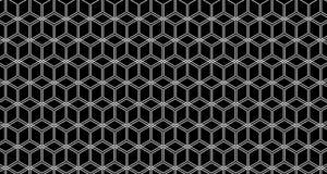 4k Hexagon Zwart-witte Animatie van het Achtergrondkubuspatroon Stock Fotografie