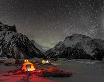 K2. High Resolution photo of K2 8611m that is the 2nd-highest mountain on Earth and Broad Peak 8051m 12th highest mountain on Earth on night with stars Stock Photo