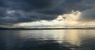 4k huge clouds mass rolling over lake namtso in morning,tibet mansarovar. stock video