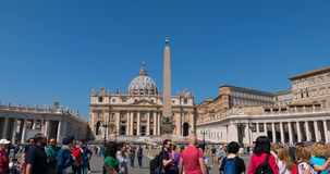 4k hyperlapse passage through square turn of tourists wishing to go inside church. Hyperlapse passage through Basilica of Saint Peter square, turn of tourists to stock footage