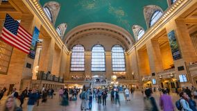 4k hyperlapse video of Grand Central Station in New York. New York, USA - May 10, 2018: 4k hyperlapse video of commuters at Grand Central Station in New York