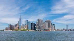 4k hyperlapse video of Lower Manhattan skyline stock video footage