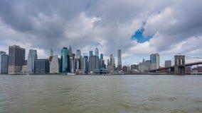 4k hyperlapse video of Manhattan skyline and Brooklyn Bridge stock video footage