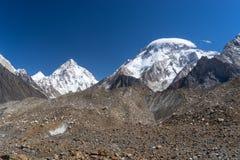 K2 i Szeroka szczytowa góra, K2 wędrówka Fotografia Royalty Free