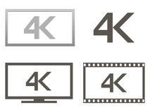 4k icono, ejemplo conjunto Fotografía de archivo