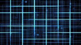 4k il circuito elettrico virtuale, le linee di tecnologia di scienza, matrice punteggia il fondo della particella archivi video