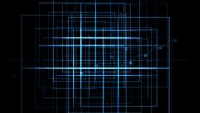 4k il circuito elettrico virtuale, le linee di tecnologia di scienza, matrice punteggia il fondo della particella stock footage
