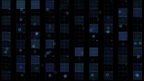 4k il circuito quadrato virtuale, le linee di tecnologia di scienza, matrice punteggia il fondo di esame video d archivio
