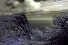 4K. InfraRed landscape: Movement of the clouds on the mountain bay Laspi. Crimea, Ukraine stock video footage