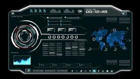 4K interfaccia utente di animazione UI con la tavola della casella di testo della barra di HUD pi di dati di mappa del mondo ed e illustrazione vettoriale