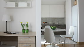 4K. Interior of modern apartment in scandinavian style with kitchen and workplace. Motion panoramic view stock footage