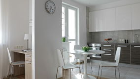 4K. Interior of modern apartment in scandinavian style with kitchen and workplace. Motion panoramic view stock video