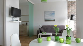4K. Interior of a new modern apartment in scandinavian style. Motion panoramic view stock video