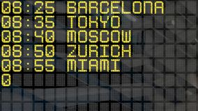 4K - International Airport Departure Board close-up with environment reflection stock footage