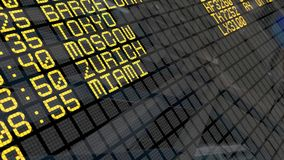 4K - International Airport Departure Board close-up with environment reflection