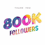 800k internet follower number thank you template. 800000 followers thank you paper cut number illustration. Special 800k user goal celebration for eight hundred royalty free illustration