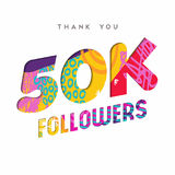 50k internet follower number thank you template. 50000 followers thank you paper cut number illustration. Special 50k user goal celebration for fifty thousand Stock Photo
