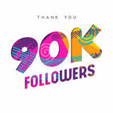 90k internet follower number thank you template. 90000 followers thank you paper cut number illustration. Special 90k user goal celebration for ninety thousand Royalty Free Stock Photo