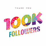 100k internet follower number thank you template. 100000 followers thank you paper cut number illustration. Special 100k user goal celebration for one hundred stock illustration