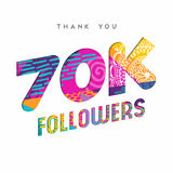 70k internet follower number thank you template. 70000 followers thank you paper cut number illustration. Special 70k user goal celebration for seventy thousand Royalty Free Stock Image