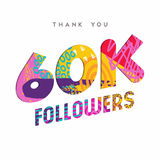 60k internet follower number thank you template. 60000 followers thank you paper cut number illustration. Special 60k user goal celebration for sixty thousand Stock Image