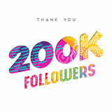 200k internet follower number thank you template. 200000 followers thank you paper cut number illustration. Special 200k user goal celebration for two hundred Stock Illustration
