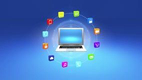 4k, interneta pojęcie, online usługa ikony, ogólnospołeczni środki wokoło laptopu ilustracji