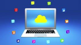 4k, interneta pojęcie, online usługa ikony, ogólnospołeczni środki wokoło obłocznego komputeru ilustracji