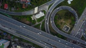4K Intersection Highway road with traffic from drone view stock video