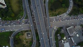 4K intersection highway road with traffic from drone view stock footage