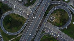 4K intersection highway road with traffic from drone view stock video footage