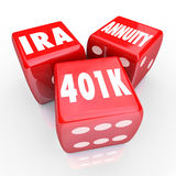 401K IRA Annuity Words 3 Red Dice Luck Risk Investment Savings. 401K IRA and Annuity words on three red dice to illustrate risk and chance in savings for Stock Image