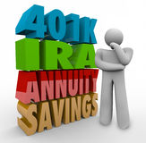 401K IRA Annunity Savings Investment Options Thinking Person Con. The words 401K, IRA, Annuity, Savings in 3d letters beside a thinking person confused over what Stock Photography