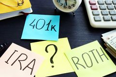 401k ira roth on pieces of paper. Retirement planning. 401k ira roth on pieces of paper. Retirement planning concept royalty free stock images