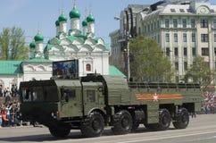 9K720 Iskander es un sistema de misiles balístico de corto alcance móvil Foto de archivo