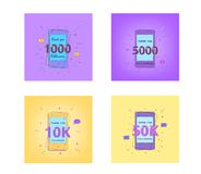 Set of Followers thank you banners. Vector illustration. 1000, 5000, 10K, 50K Followers thank you cards. Template for social media post. Glitch chromatic Stock Photography